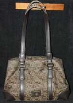 Liz Claiborne Logo Espresso Brown Silver Hardware Handbag Purse Medium - $24.70