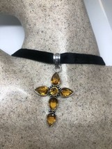 Vintage Citrine Cross Choker Necklace Pendant - $94.05
