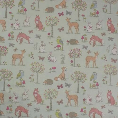 Animals of the Forest Duck Egg 100% Cotton High Quality Fabric Material 3 Sizes