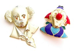 CLOWNS! Vintage Colorful Figural Pins Enamel Circus Brooch Jewelry Lot o... - $24.70
