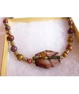 Vintage Graduated Bead Polished AGATE Stone Necklace - $24.45
