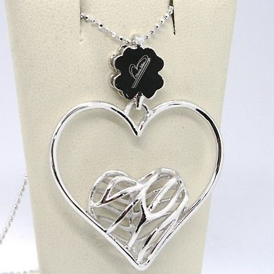 925 STERLING SILVER NECKLACE WORKED HEART FOUR LEAF CLOVER PENDANT, MARIA IELPO