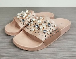 Steve Madden Sandy Embellished Slide Sandal, Blush Satin, Womens Various... - $18.39