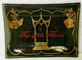 Vintage TOP OF THE FLAME Detroit Michigan Smoked Glass Tray - $49.50