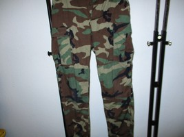 TROUSERS/PANTS HOT WEATHER BDU WOODLAND CAMO COMBAT-COTT BLEND SM/LONG U... - $12.16