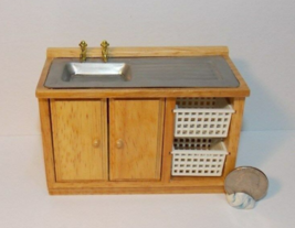 1 Pcs Oak Kitchen Sink Dollhouse Miniature Wood 1:12 one inch scale - DL - $54.00