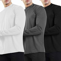 Ogeenier Men's Long Sleeve Athletic T-Shirt Mock Neck Running Shirts,Black,Grey,