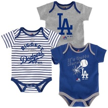 Los Angeles Dodgers Infant Home Run Bodysuit 3-Piece Set MLB Baby Baseball
