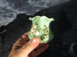 "Miniature collectible small flowered green china pitcher, 2.5"" hi, 3"" wi... - $9.89"