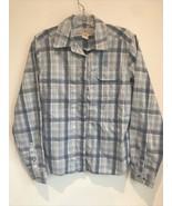 LL Bean Womens SMALL Cotton Plaid Shirt Button Down Blue White Roll Tab - $19.79