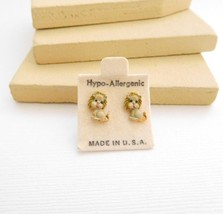 Vintage Small Painted Toy Stuffed Animal Lion Tiny Pierced Stud Earrings... - $6.99