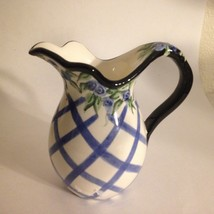 """Candle Holder Faux Pitcher w/ Handle Blue & White Flowers 4.5"""" X4.5"""" - $9.89"""