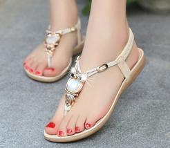 Summer new women flat sandals flip owl rhinestone thong sandals women flat sanda