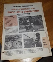 1980 Troy-Bilt Horse Model Parts and Attachments Price List & Order Form - $5.00