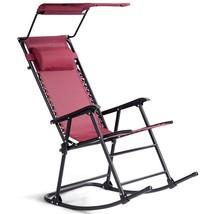 Zero Gravity Folding Rocking Chair Rocker Porch-Wine - $84.49