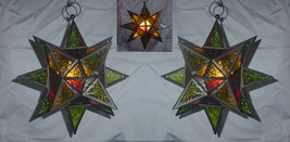 Two (2) hanging glass moroccan star candleholder metal frame multicolor ... - $49.00