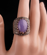 Wide Sterling Ring / lilac Jade Ring / size 9 / marcasite silver / ladie... - $125.00