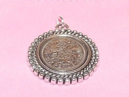 1964 Lucky sixpence coin Rim pendant ready to hang - $10.84