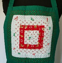 Holiday Apron Quilted Christmas Fabric Large Front Pockets Ties Around Back - $22.13