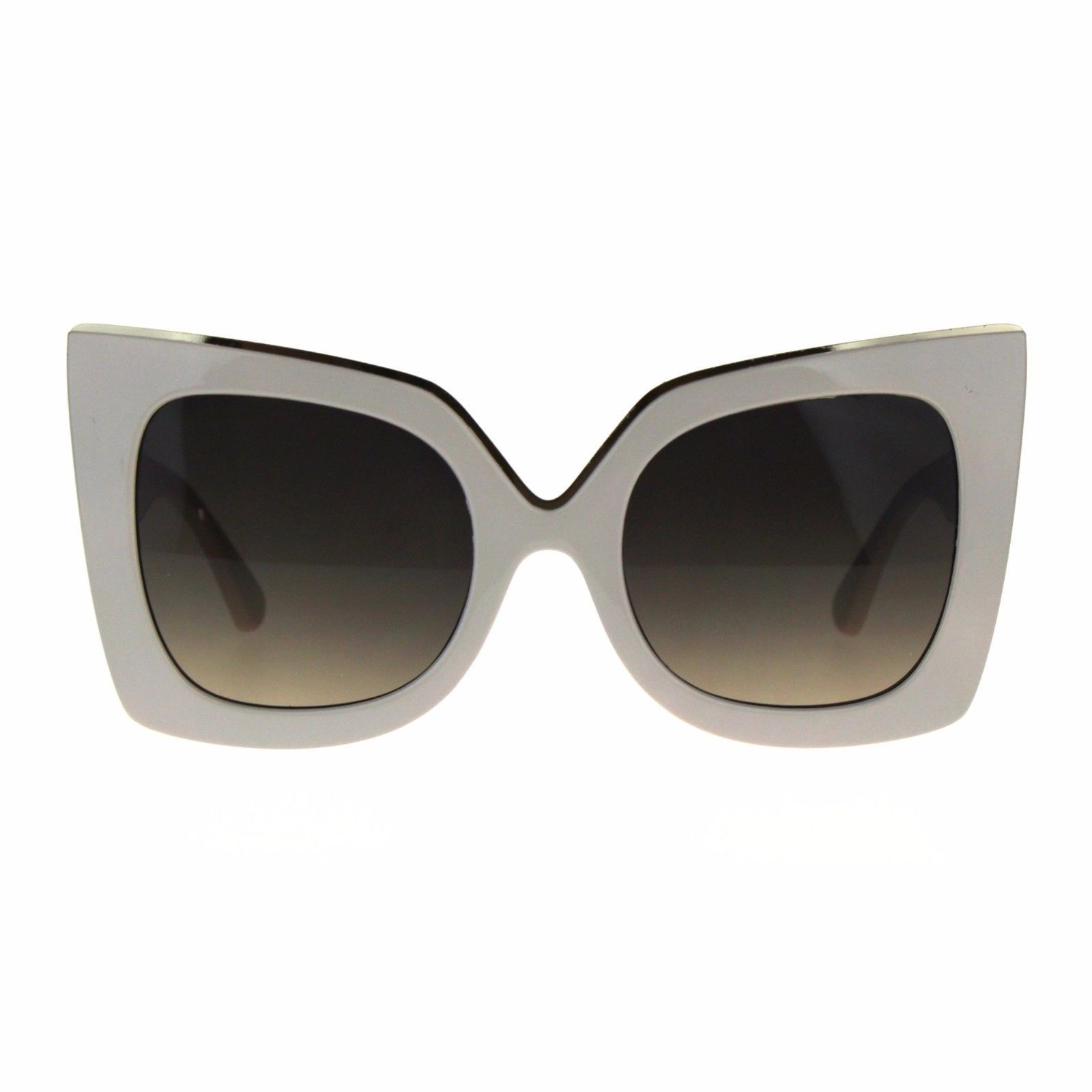 Womens Sunglasses Oversized Fashion Square Butterfly Metal Top Accent