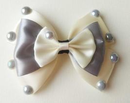 """NEW """"Silver & Cream Satin Ribbon Silver Pearl Duo"""" Hairclip Barrette Acc... - $7.85"""