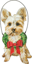 """YORKIE dog Holiday Christmas ornament wooden 5"""" x 2.5"""" wreath - $10.75"""
