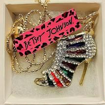 Betsy Johnson Gold Tone Multi Colored Rhinestone High Heels Pendant - $25.00