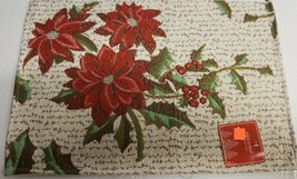 "Set of 2 Tapestry Placemats, 13""x19"", CHRISTMAS POINSETTIA & HOLLY BERRI... - $12.86"