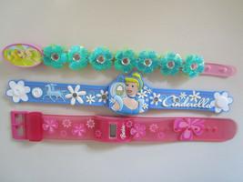 DISNEY PRINCESS Bracelet & BARBIE Watch LOT Jelly Jewelry Battery Operat... - $5.83