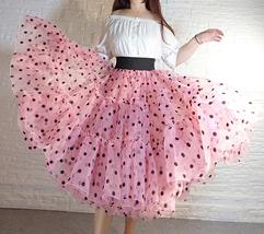 Pink Polka-Dot Puffy Tutu Skirt Outfit A-line Layered Plus Size Puffy Midi Skirt image 3