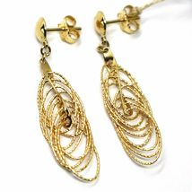 18K YELLOW GOLD PENDANT EARRINGS, MULTIPLE WORKED OVALS, SPIRAL 4cm, 1,6 INCHES image 4