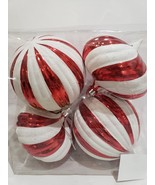 """Christmas Peppermint Red White Shatterproof Ornaments XLARGE 6"""" Set of 4 - $32.99"""