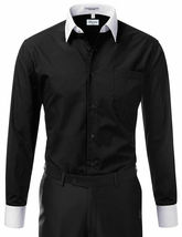 New Open Box Repackaged Men's Long Sleeve Two Tone Dress Shirts Colors image 5
