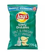 2 Bags Lays Wavy Salt & Vinegar Chips Family Size 255g Canada FRESH & DE... - $17.77