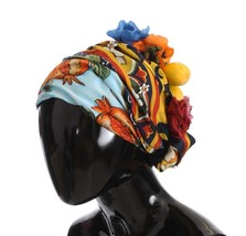 Dolce & Gabbana Floral Fruit Roses Crystal Silk Headwear Turbane - $1,712.36