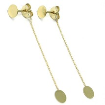 18K YELLOW GOLD PENDANT EARRINGS FLAT DOUBLE DISC, SHINY, SMOOTH, ROLO CHAIN image 2