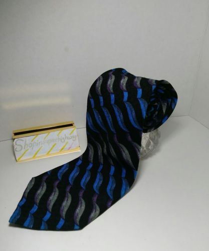 MANZONI Mens Tie LONG Wide Pure Silk Made in Italy Abstract EUC