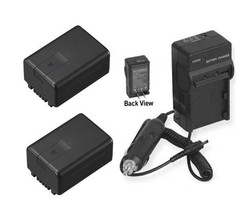 Two 2 Batteries + Charger For Panasonic HDCTM60P HDCTM60PC HDC-TM90 SDR-H100K - $46.78
