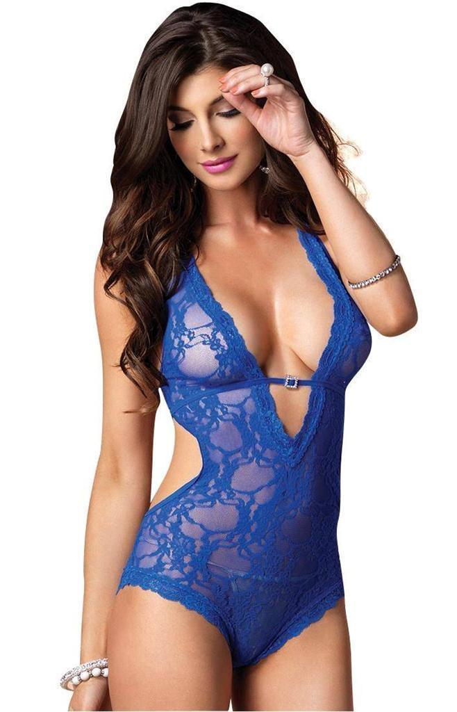 NEW LEG AVENUE WOMEN'S PREMIUM SEXY STRETCH LACE V HALTER TEDDY ROYAL-BLUE 81375