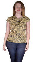 Black and Gold Blouse Easy Fit Size Choice L or XL - $7.50