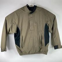 DryJoys FootJoy Pullover Golf Wind Mens Medium Brown Beige 1/2 Zip Jacket Coat - $34.61