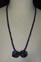 Vintage Purple Red Green Multi-Color Bead Beaded Choker Necklace Earring Set - $19.80