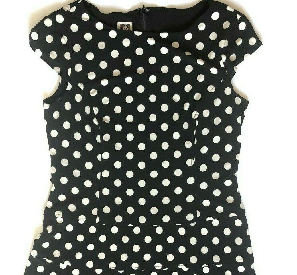 Anne Klein Polka Dot Dress 12 Stretch Black White Shift Cap Sleeves