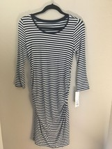 Liz Lange Maternity Navy Ivory Striped Dress Extra Small XS NWT - $19.34