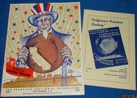 Vtg 1950 San Francisco Centennial Celebration Program w Insert 2 page ci... - $17.42