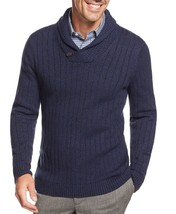 Tasso Elba Men's Navy Blue Twist Shawl Collar Ribbed Knit Pullover Sweater - $771,64 MXN
