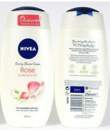 2 Bottles Nivea 8.45 Oz Rose & Almond Oil Caring Shower Cream For Soft Skin - $16.99