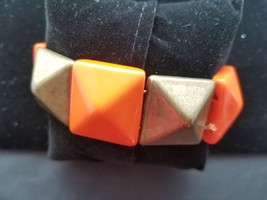 Vintage Orange And Green Plastic Stretch Bracelet Art Deco Style Pyramid... - $7.68