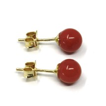 18K YELLOW GOLD BALLS SPHERES RED CORAL BUTTON EARRINGS, 5 MM, 0.2 INCHES image 2