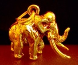 LOOK Gold Plated WOOLLY MAMMOTH Charm Dinosaur Elephant - $19.08
